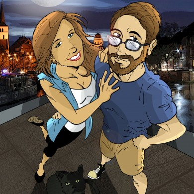 Amsterdam couple, Comicsus Personalised Illustration