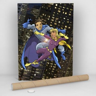 Super Couple Fighting, Comicsus Personalised Comic Poster