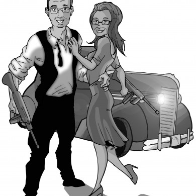 Bonnie and Clyde, Comicsus Personalised Illustration