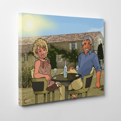 Old Couple Enjoying Wine, Comicsus Personalised Canvas