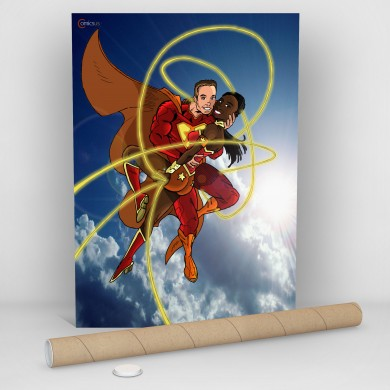 Super Couple In The Sky, Comicsus Personalised Comic Poster